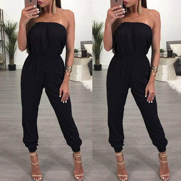 The Best Women's Bandage Party Jumpsuit Sexy Ladies Slim Fit Romper Long Playsuit Women Solid Strapless Off Shoulder Romper Trousers Online - Hplify