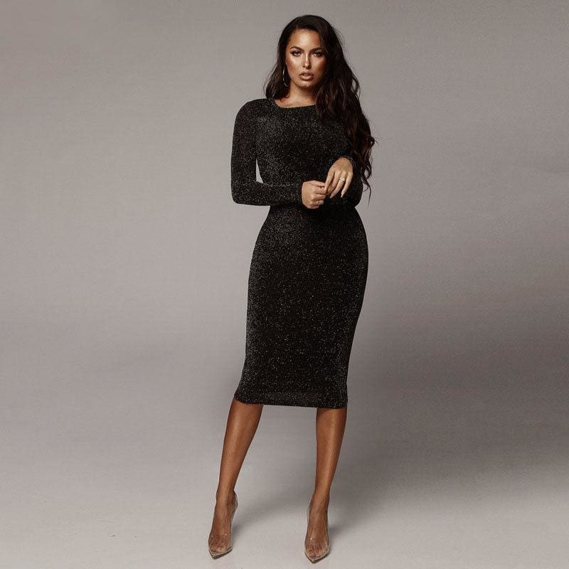Womens Bandage Shiny Long Sleeve Evening Party Dress Pencil Dresses - Womens Dress