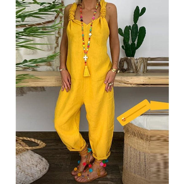 The Best Women's Beach Sleeveless Dungarees Harem Strap Bohemian Holiday Long Pant Casual Loose Jumpsuit Baggy Trousers Overalls Online - Hplify