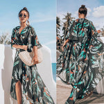 Womens Bikini Cover Up Swimwear Beach Maxi Wrap Dress Boho Casual Cardigan Sarong Kimono Blouse Kaftan Dress Sundress - A / L - Womens