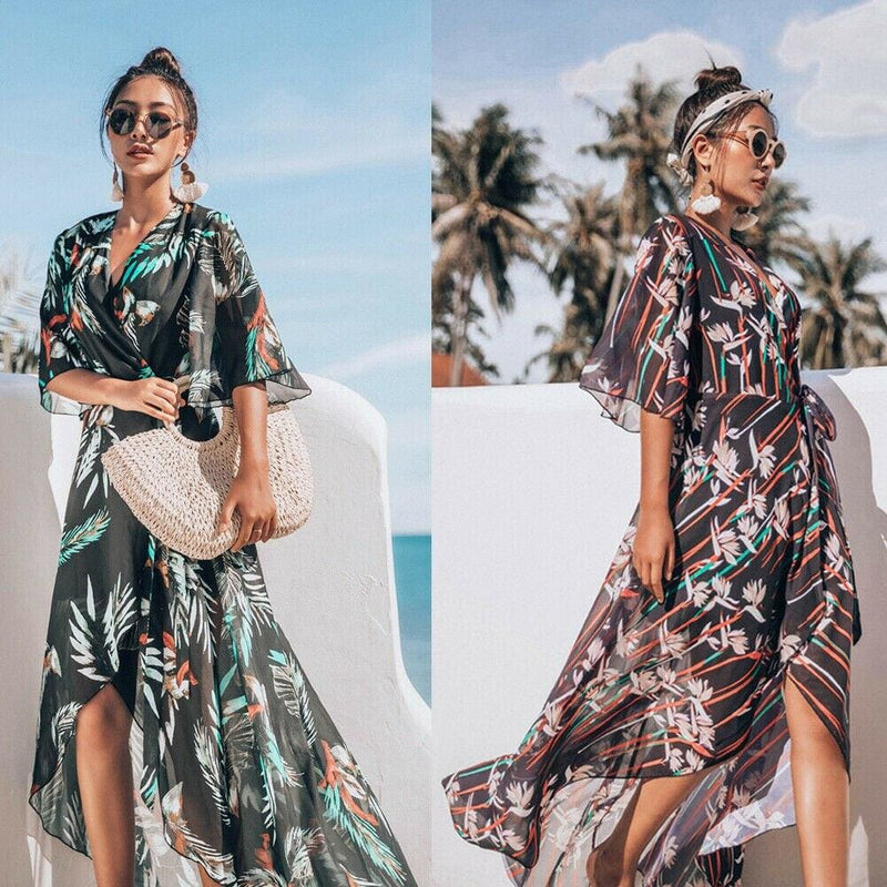 The Best Women's Bikini Cover Up Swimwear Beach Maxi Wrap Dress Boho Casual Cardigan Sarong Kimono Blouse Kaftan Dress Sundress Online - Hplify