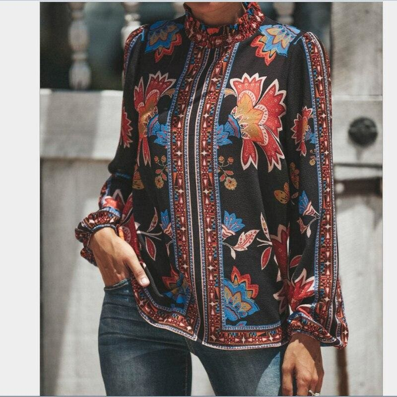 The Best Womens Blouses Fashion Ladies Floral Casual Pattern Ethnic Shirt Women Loose Tops Long Sleeve Blouse Online - Source Silk