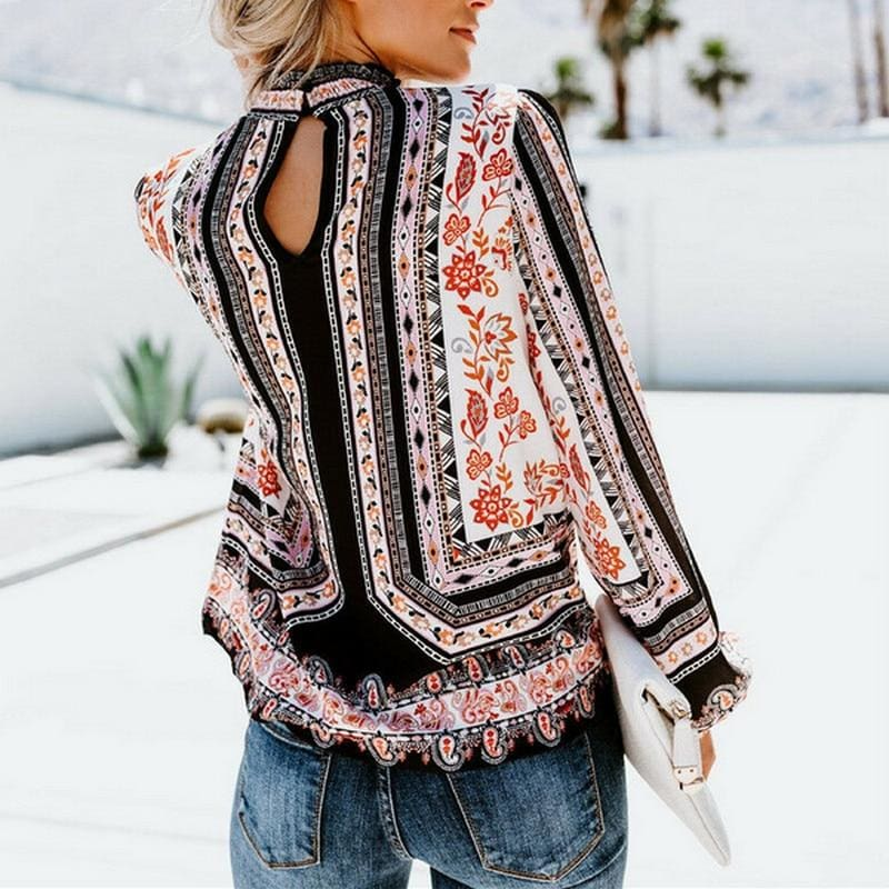 The Best Womens Blouses Fashion Ladies Floral Casual Pattern Ethnic Shirt Women Loose Tops Long Sleeve Blouse Online - Hplify
