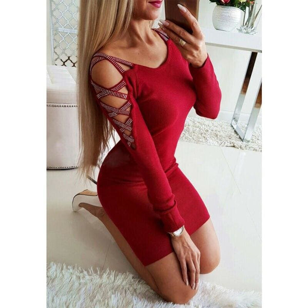 The Best Women's Bodycon Dress Ladies Autumn Casual Long Sleeve Cold-Shoulder Party Cocktail Sexy Bandage Slim Dress Online - Hplify