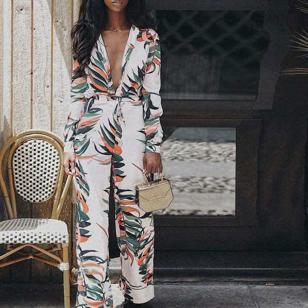 The Best Women's Boho Long Sleeve V Neck Flower Printed Bodycon Jumpsuit Ladies Holiday Party Long Pants Jumpsuit Romper Online - Hplify