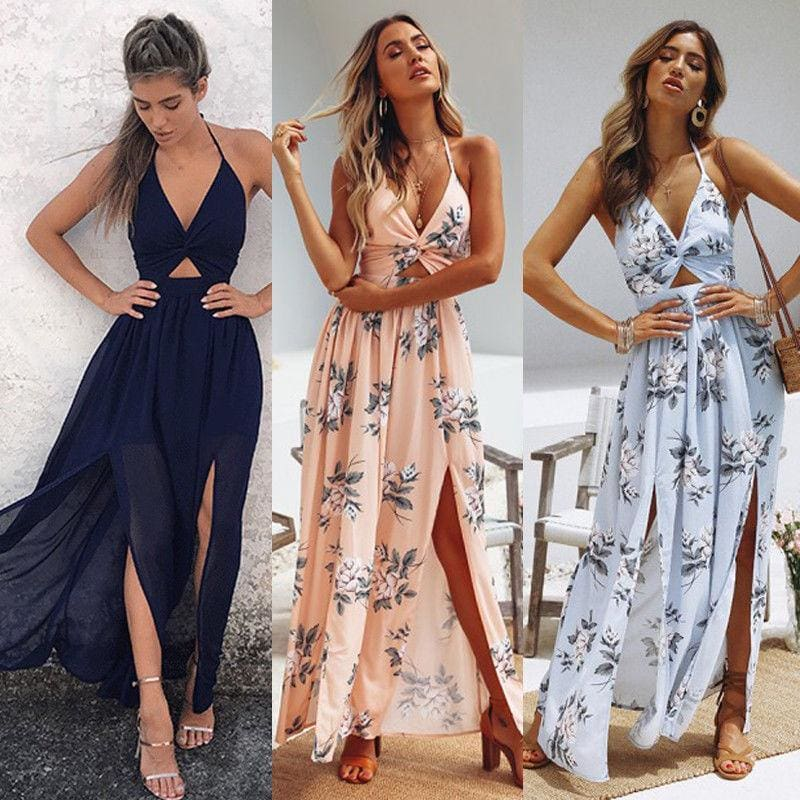 Buy Cheap Womens Boho Maxi Long Dress Sundress Floral Halter Dress Online - Hplify
