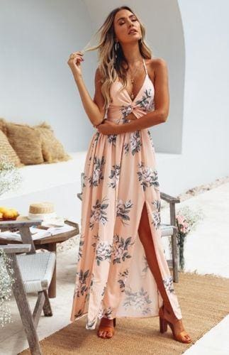 The Best Womens Boho Maxi Long Dress Sundress Floral Halter Dress Online - Source Silk
