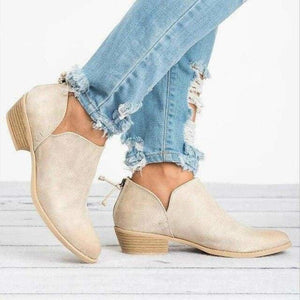 Womens Boots Shoes High-heel Low Solid Zipper Plus Size - Beige / 5 - Womens Shoes