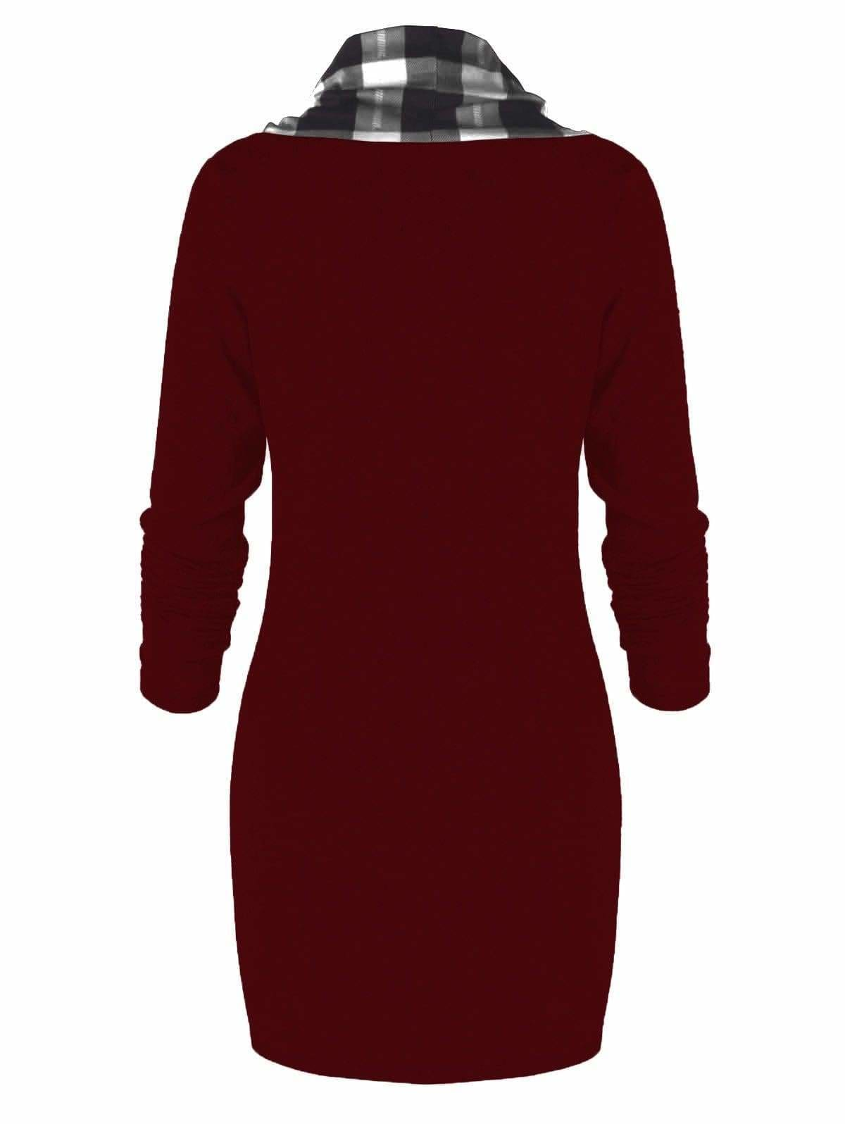 The Best Womens Casual Sheath Cowl Neck Long Sleeve Dress Online - Source Silk