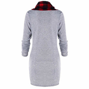 Womens Casual Sheath Cowl Neck Long Sleeve Dress - Womens Dresses
