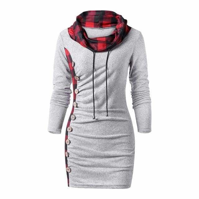 Womens Casual Sheath Cowl Neck Long Sleeve Dress - Heather Gray / M - Womens Dresses