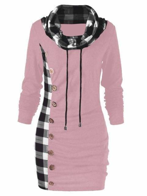 Womens Casual Sheath Cowl Neck Long Sleeve Dress - Pig Pink / M - Womens Dresses