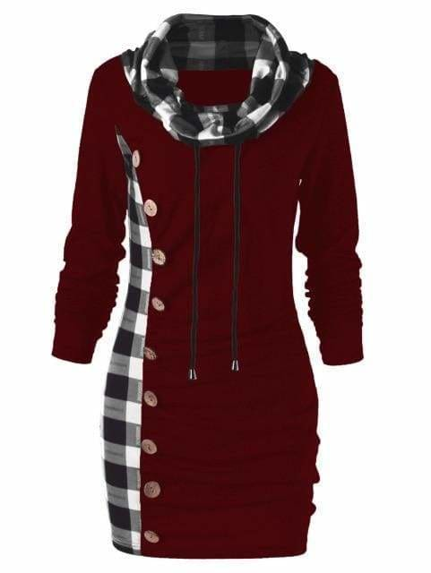 Womens Casual Sheath Cowl Neck Long Sleeve Dress - Red Wine / M - Womens Dresses