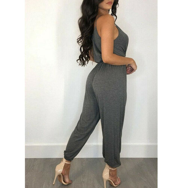 The Best Women's Casual Sleeveless Jumpsuit Slim Summer Fashion Solid Front Bow Slim Fit Long Pant Trousers Jumpsuit Bodysuit Online - Hplify