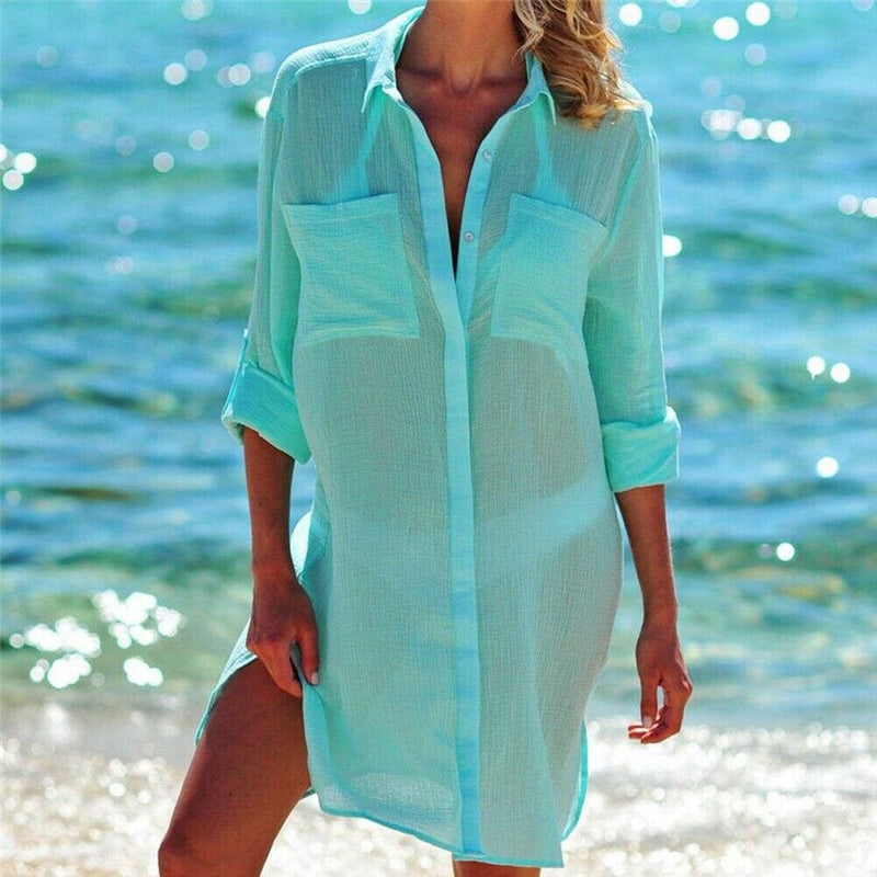 The Best Women's Casual Top Long Sleeve Shirt Blouse Bikini Cover Up Swimwear Swim Bathing Suit Summer Beach Mini Dress Online - Hplify