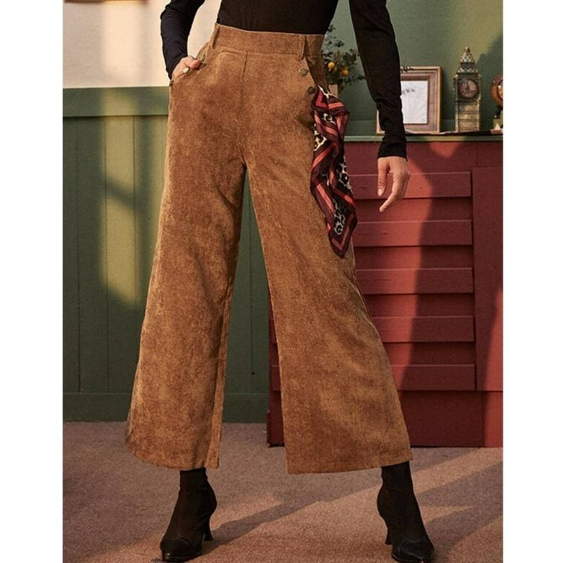 The Best Women's Corduroy Wide-Leg Trousers High Waist Straight Loose Casual Straight Long Bell-bottom Pants Online - Hplify
