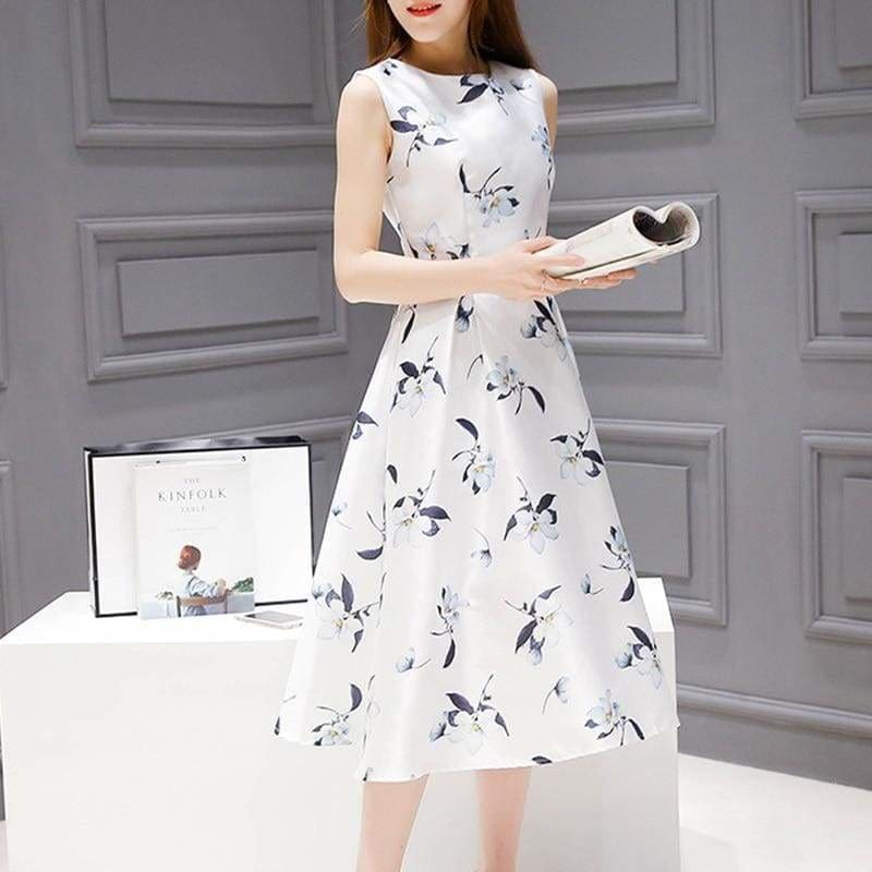 The Best Women's Dresses Casual Printed Off Shoulder Tank Dress Online - Source Silk
