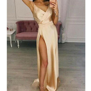 Buy Cheap Women's Elegant Plain Maxi Dress Strappy Backless High Waist V-Neck Bodycon Party Long Formal Dress Party Night Women Lot Online - Hplify