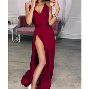Women's Elegant Plain Maxi Dress Strappy Backless High Waist V-Neck Bodycon Party Long Formal Dress Party Night Women Lot - Hplify