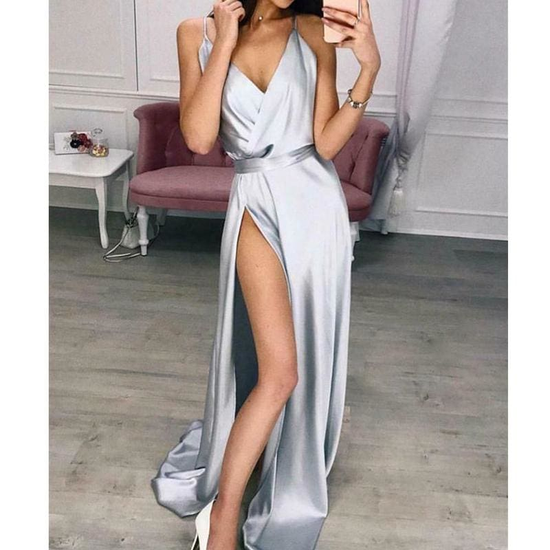 Womens Elegant Plain Maxi Dress Strappy Backless High Waist V-Neck Bodycon Party Long Formal Dress Party Night Women Lot - Dresses