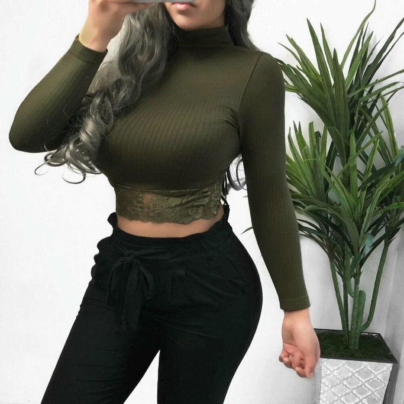 The Best Women's High Collar Lace Crop Tops T-Shirt Laies Stretch Casual Long Sleeve Knit Slim Fit Top Online - Hplify