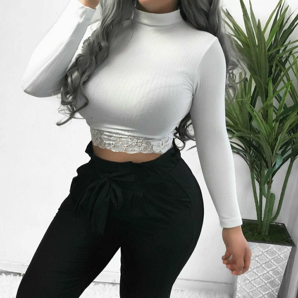 The Best Women's High Collar Lace Crop Tops T-Shirt Laies Stretch Casual Long Sleeve Knit Slim Fit Top Online - Source Silk