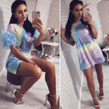 The Best Women's Holiday Mini Floral Dress Fashion Ladies Tulle Short Sleeve Bodycon Online - Source Silk