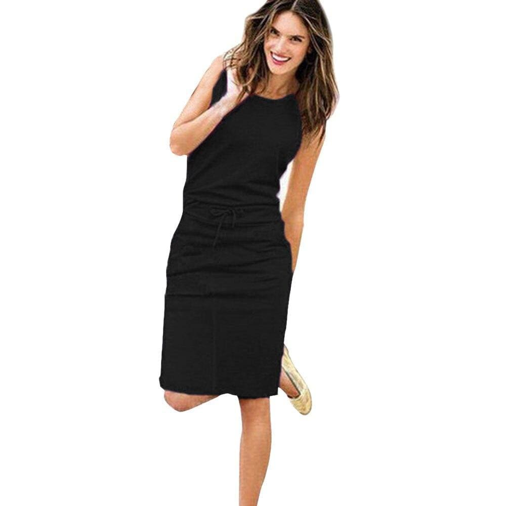 Womens Holiday Sleeveless Pockets With Belt Pencil Dress - Black / S - Womens Dress
