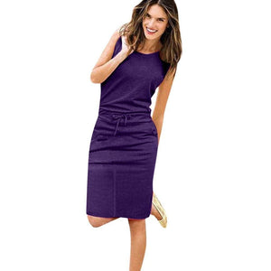 Womens Holiday Sleeveless Pockets With Belt Pencil Dress - Purple / S - Womens Dress