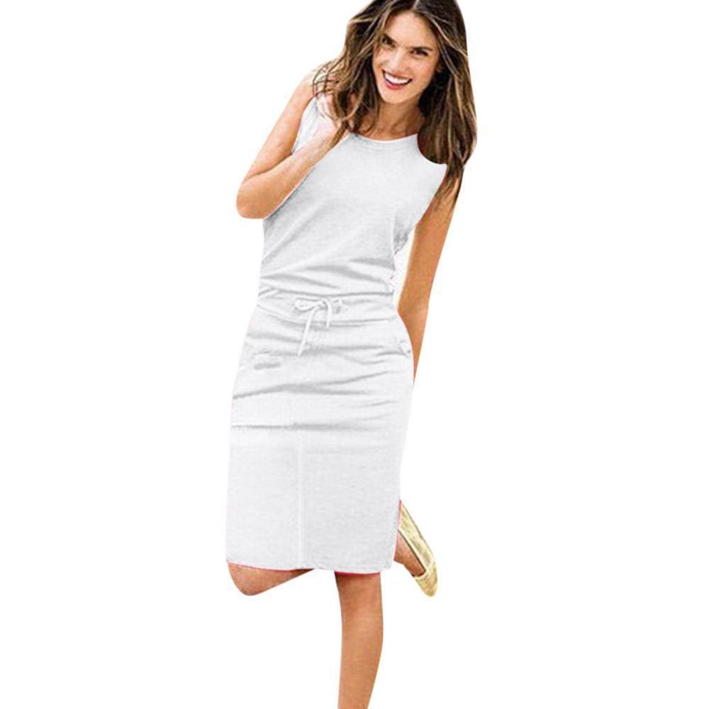 Womens Holiday Sleeveless Pockets With Belt Pencil Dress - White / S - Womens Dress