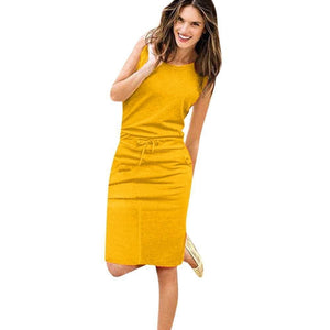 Womens Holiday Sleeveless Pockets With Belt Pencil Dress - Yelow / S - Womens Dress