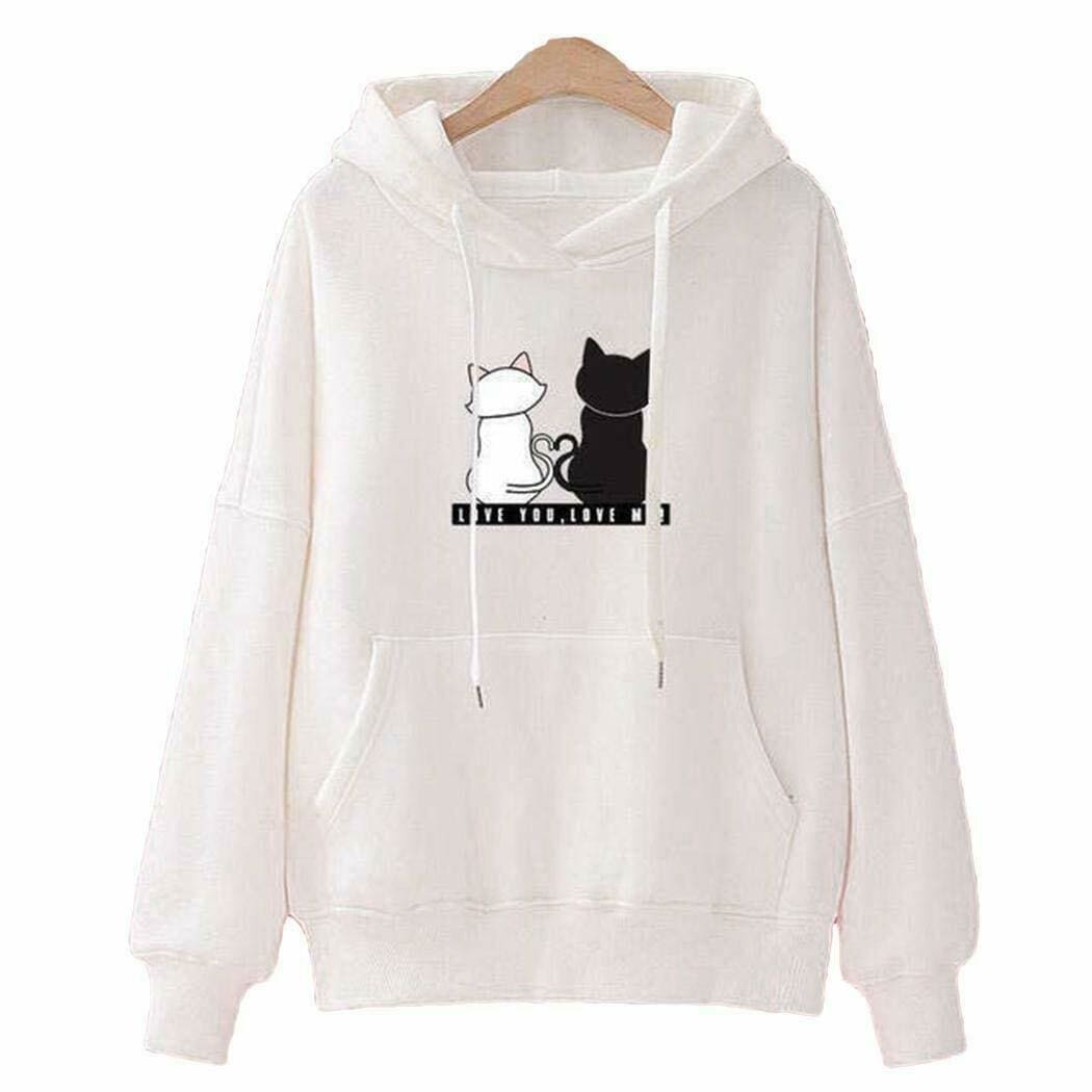 The Best Women's Hooded Tops Fashion Long Sleeves Pocket Pullover Hoodies Solid Color Heart-Shaped Print Women Clothes Online - Source Silk