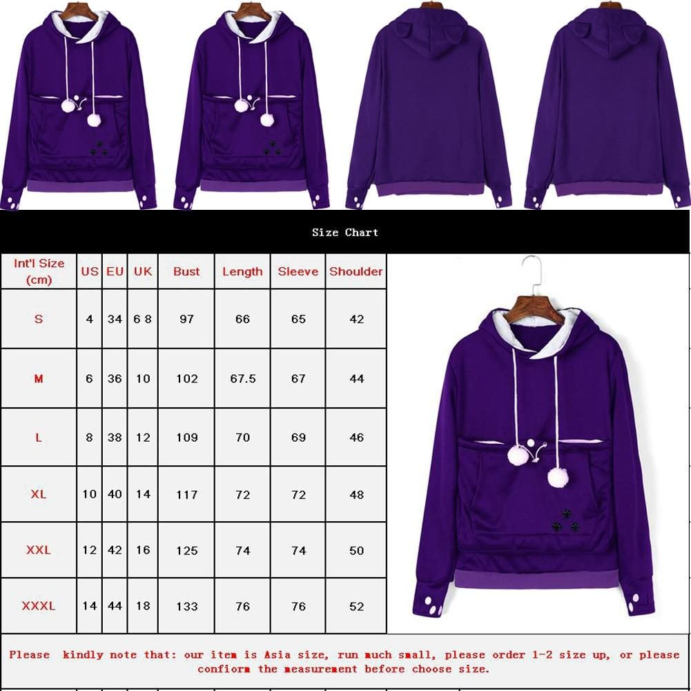 Womens Hoodie Sweatshirt Casual Hooded Jumper Top Autumn Winter Long Sleeve Pullover Outwear - Womens Clothing
