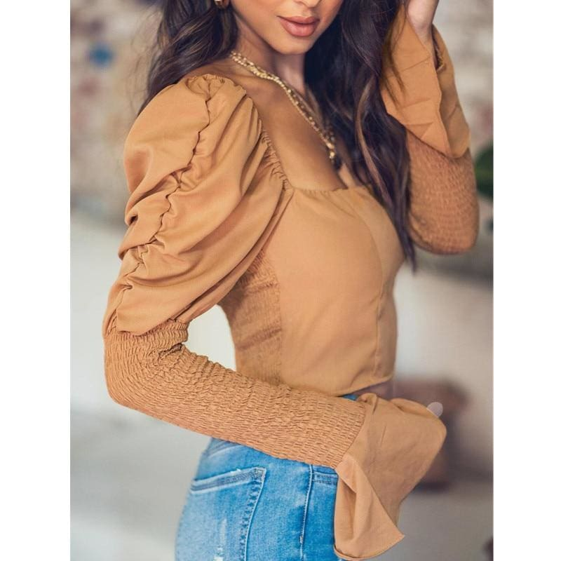 The Best Women's Long Bell Sleeve Tops Square Neck Casual Tunics Crop Workout OL Shirt Blouse Tee Women Clothing Online - Hplify