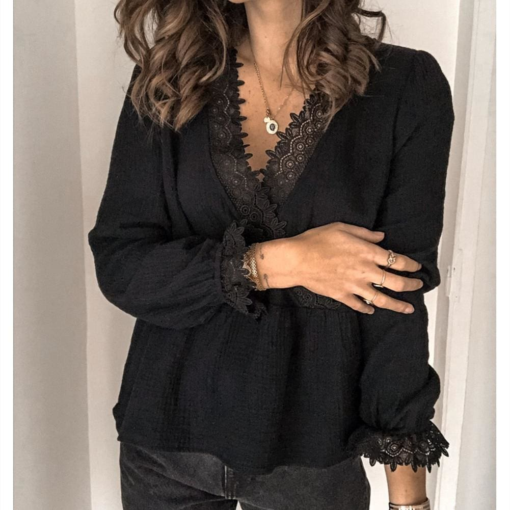 Womens Long Sleeve V-neck Tops Shirt Ladies Casual Solid Loose Basic Blouse Shirt Tee - Black / S - Tops