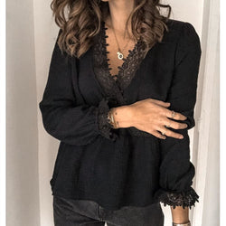 The Best Women's Long Sleeve V-neck Tops Shirt Ladies Casual Solid Loose Basic Blouse Shirt Tee Online - Hplify