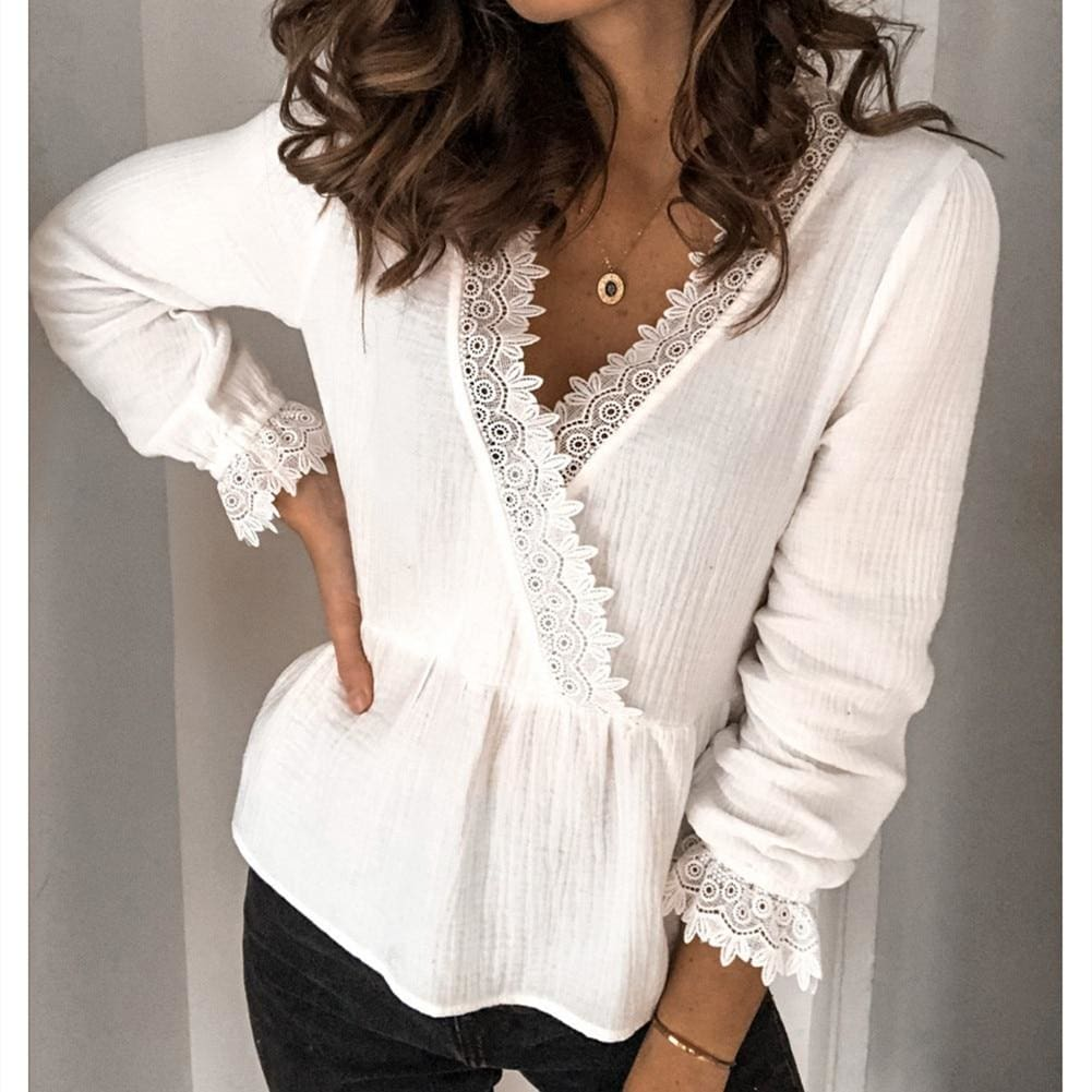 Womens Long Sleeve V-neck Tops Shirt Ladies Casual Solid Loose Basic Blouse Shirt Tee - Tops