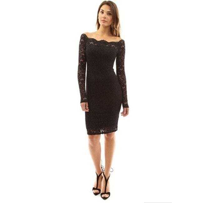 Womens Off Shoulder Party Lace Hollow Out Mini Bodycon Dress - Black / S - Womens Dress