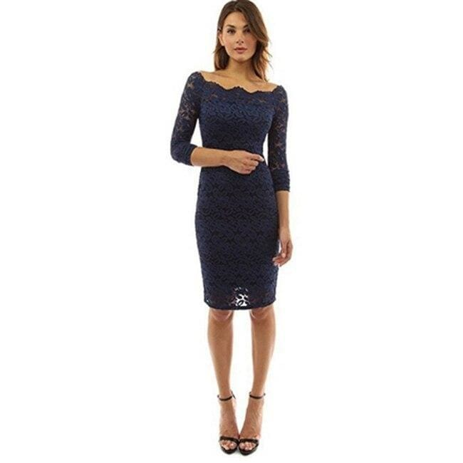 Womens Off Shoulder Party Lace Hollow Out Mini Bodycon Dress - Navy blue / S - Womens Dress