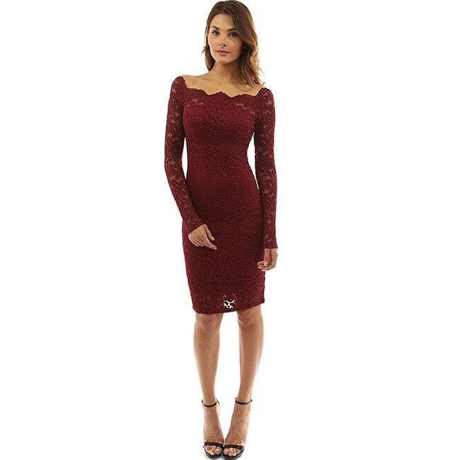 Womens Off Shoulder Party Lace Hollow Out Mini Bodycon Dress - Wine red / S - Womens Dress
