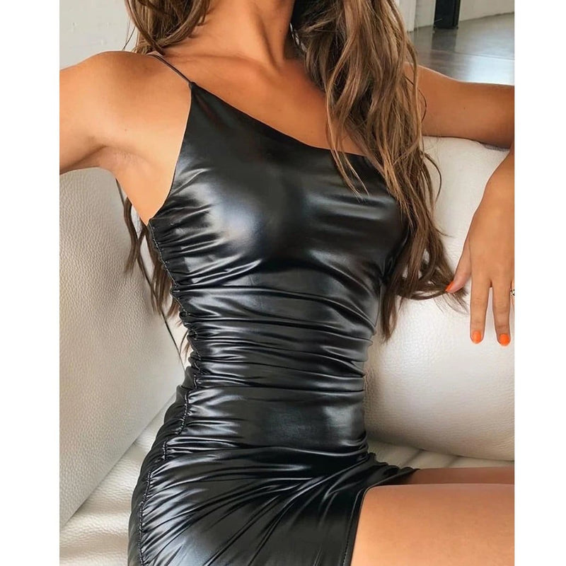 The Best Women's PU Leather Dress Ladies Bandage Bodycon Sleeveless Evening Party Clubwear Mini Dress Online - Hplify