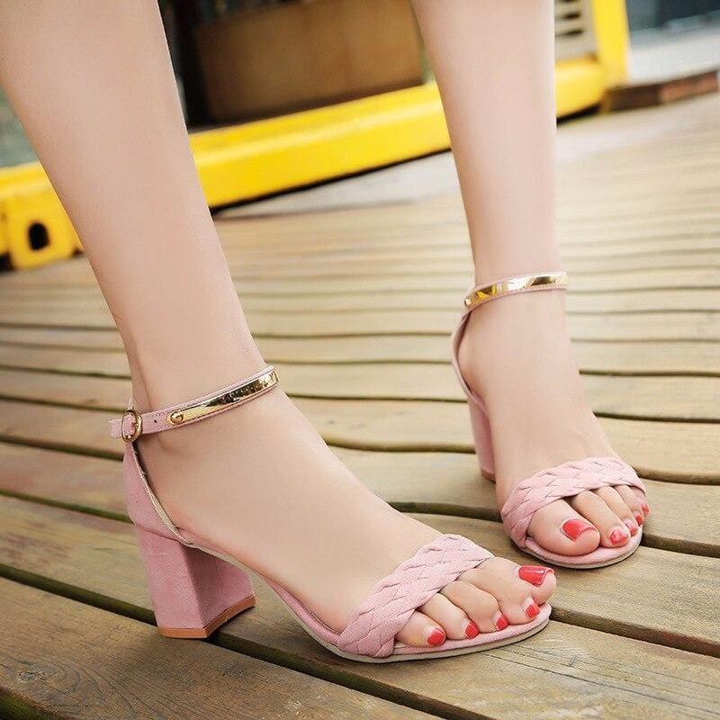 Buy Cheap Women's Sandals Summer New One Word Women's Thick Heel Sandals Online - Hplify