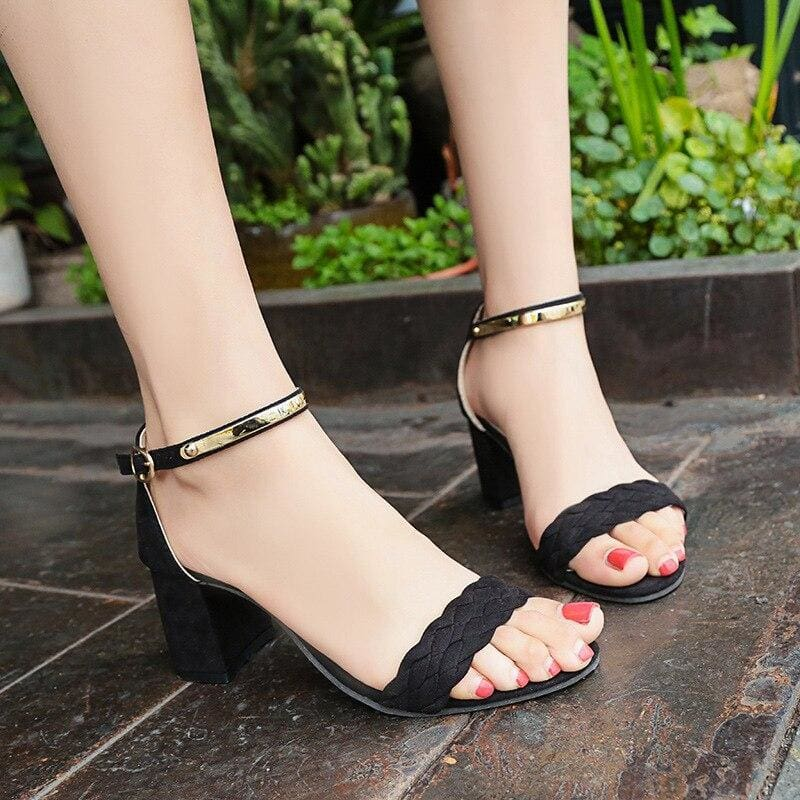 The Best Women's Sandals Summer New One Word Women's Thick Heel Sandals Online - Source Silk