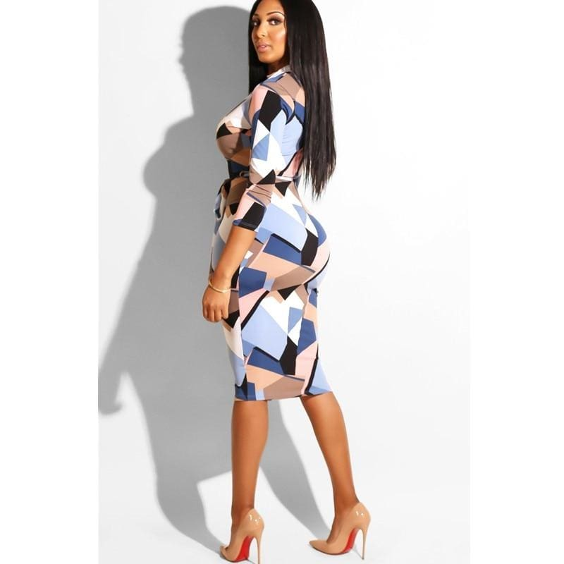 The Best Women's Sexy Long Sleeve Bodycon Dress Leopard Floral Ladies V neck Midi Dress Online - Hplify