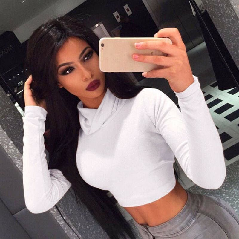 The Best Women's Shirt High Collar Long Sleeve Slim Casual Shirt Harvest Solid Tops Skinny Clubwear Top Short Online - Hplify