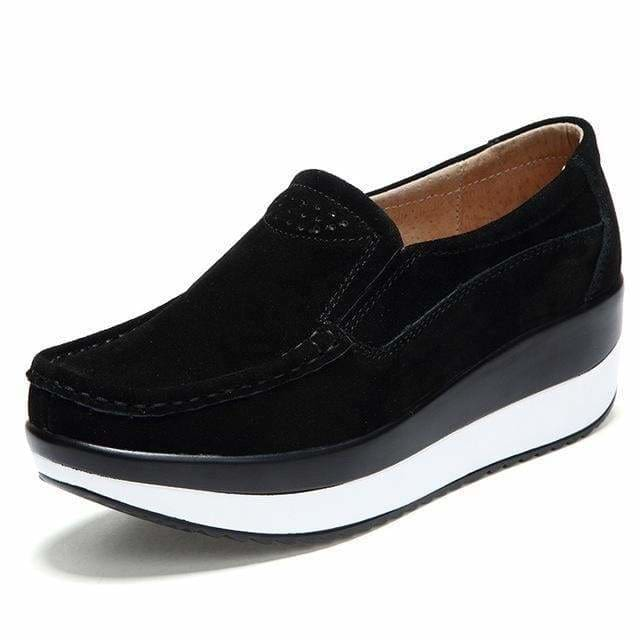 Womens Shoes Ballet Cow Suede Leather Moccasins Shoe - Black / 3 - Womens shoes