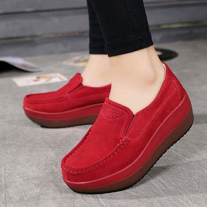 Women's Shoes Ballet Cow Suede Leather Moccasins Shoe - Hplify