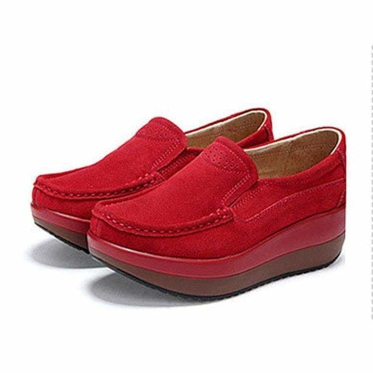 The Best Women's Shoes Ballet Cow Suede Leather Moccasins Shoe Online - Source Silk