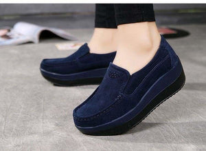 Womens Shoes Ballet Cow Suede Leather Moccasins Shoe - Womens shoes