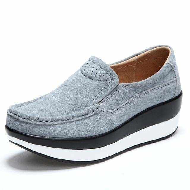 Womens Shoes Ballet Cow Suede Leather Moccasins Shoe - Gray / 3 - Womens shoes